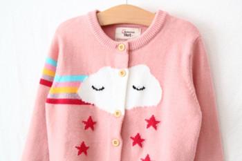 Модерна детска жилетка за момичета с копчета и О-образно деколте в розов цвят
