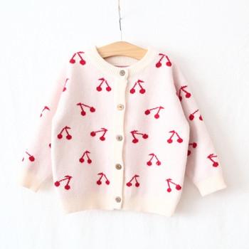Детска жилетка за момичета с О-образно деколте и копчета