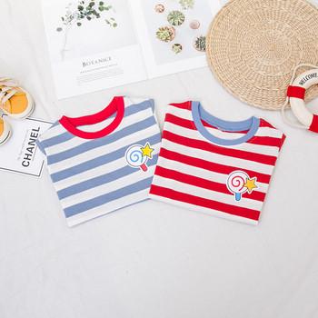 Детска ежедневна тениска с О-образно деколте в два цвята