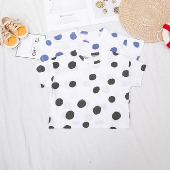 Модерна детска тениска на точки за момчета