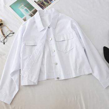 Тънко дамско яке широк модел с връзки на гърба в бял и зелен цвят