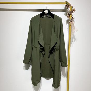 Дамско пролетно - есенно яке с дълъг ръкав и връзки на талията