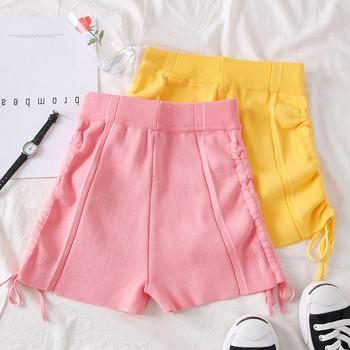 Стилни дамски къси панталони в жълт и розов цвят