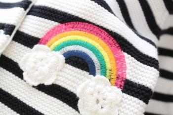 Модерна раирана детска жилетка с качулка за момичета