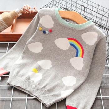Модерен детски пуловер за момичета с О-образно деколте