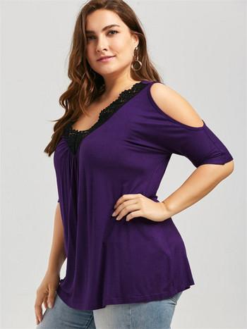 Дамска блуза с голи рамене и размер до 5XL