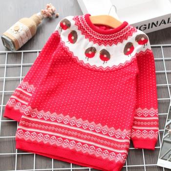 Модерен детски пуловер с О-образно деколте в червен цвят