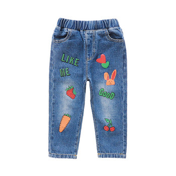 Модерни детски дънки за момичета-с бродерия и апликация