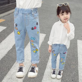 Нов модел детски дънки с апликация-за момичета