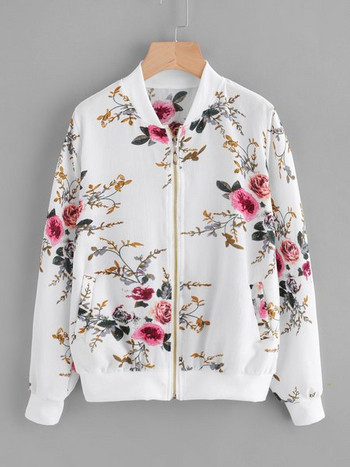 Ежедневно лятно яке с флорален мотив в бял и черен цвят