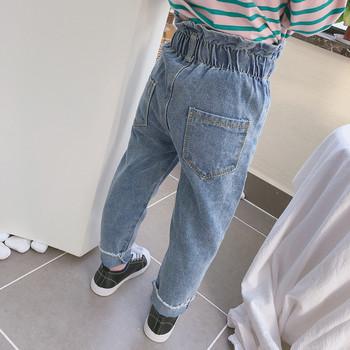 Детски дънки за момичета с висока талия в син цвят