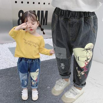 Актуални детски дънки за момичета с апликация в два цвята