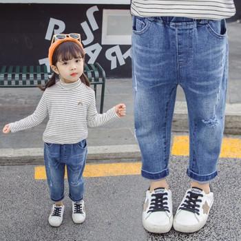 Детски дънки с бродерия и джобове-за момичета