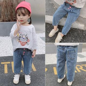 Детски модерни дънки с копчета за момичета