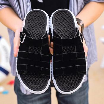 Модерни мъжки чехли с равна подметка в черен и бял цвят