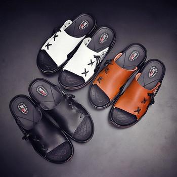 Модерни мъжки чехли от еко кожа-в три цвята