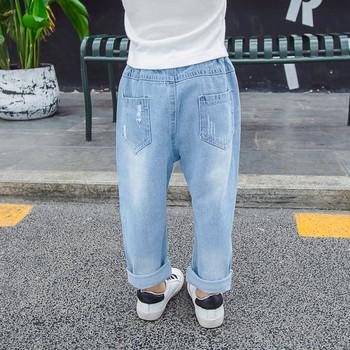 Детски модерни дънки за момичета-в светъл цвят
