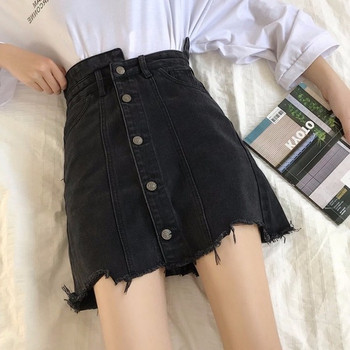 Модерна дамска дънкова пола в черен цвят с висока талия