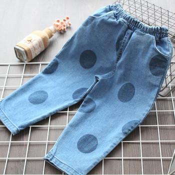 Модерни детски дънки за момичета на точки в син цвят
