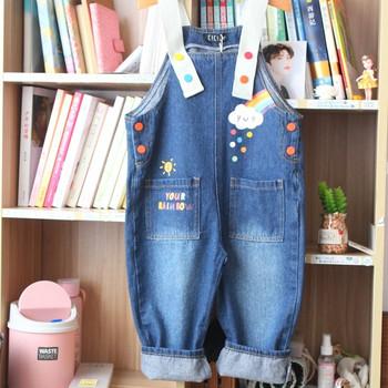 Нов модел детски гащеризон за момичета с презрамки и джобове