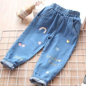 Модерни детски дънки за момичета с бродерия и джобове в син цвят