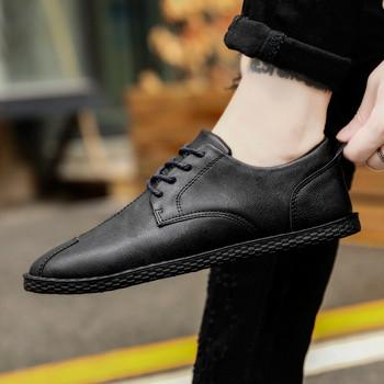 Модерни мъжки обувки от еко кожа-в три цвята