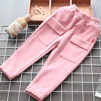 Нов модел детски панталон за момичета с джобове в розов и сив цвят
