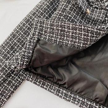 Есенно дамско карирано яке в черно-бял цвят