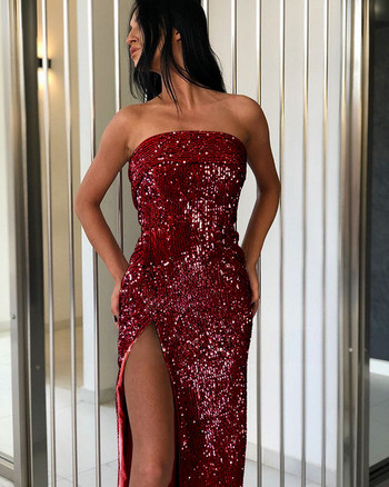 Стилна дамска рокля с цепка и пайети в няколко цвята