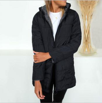 Модерно дамско яке с качулка и цип в три цвята