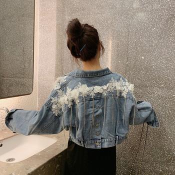 Модерно дамско дънково яке широк модел с 3D елементи