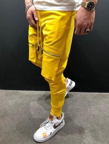 Спортно мъжко долнище с цип и връзки в няколко цвята