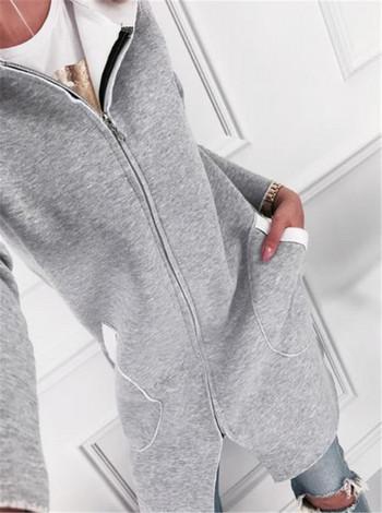 Дамско ежедневно дълго яке с качулка в сив цвят