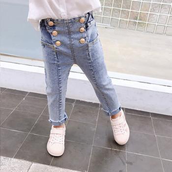 Модерни детски дънки за момичета с висока талия и копчета в светъл цвят