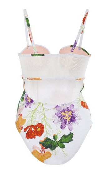 Стилен бански костюм с флорален десен в бял цвят