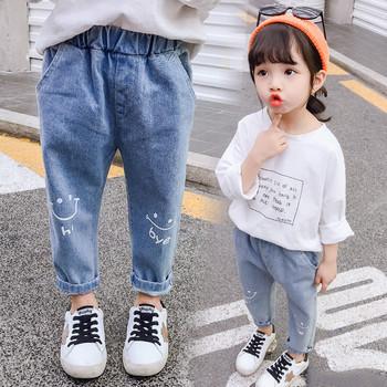 Нов модел детски дънки с бродерия-за момичета