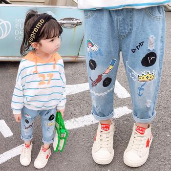 Модерни детски дънки с апликация за момичета