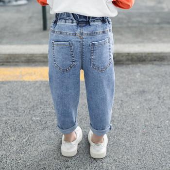 Актуални детски дънки с бродерия-за момичета