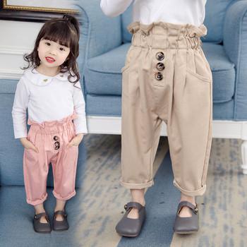 Модерен детски панталон за момичета с висока талия и копчета в розов и кафяв цвят