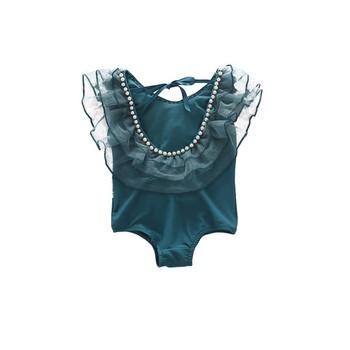 Стилен детски цял бански с перли и тюл в син цвят