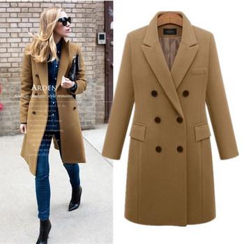Стилно дамско дълго палто в няколко цвята