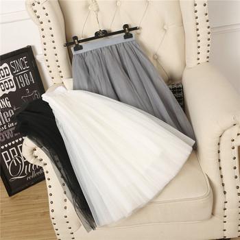 Нов модел дамска пола с тюл в бял,сив и черен цвят