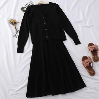 Есенен дамски комплект включващ рокля и жилетка в няколко цвята