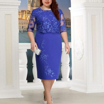 Стилна дамска рокля Slim модел с дантела и размери до 5XL