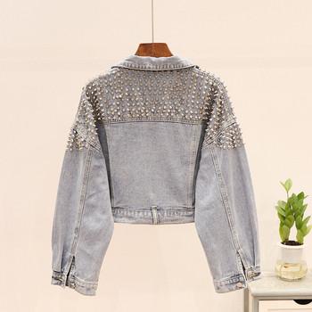 Дънково дамско яке с метални елементи в светъл и тъмен цвят
