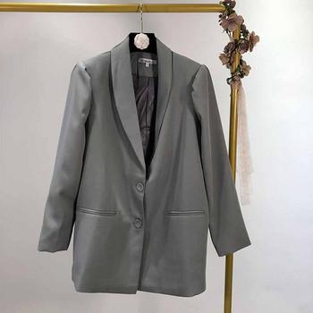 Дамско сако с дълъг ръкав и колан в сив цвят