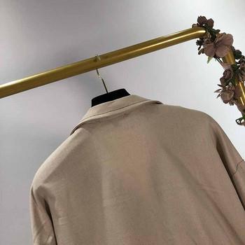 Тънко пролетно-есенно яке в с връзки на талията в кафяв цвят