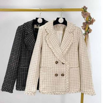 Дамско карирано сако с дълъг ръкав в два цвята