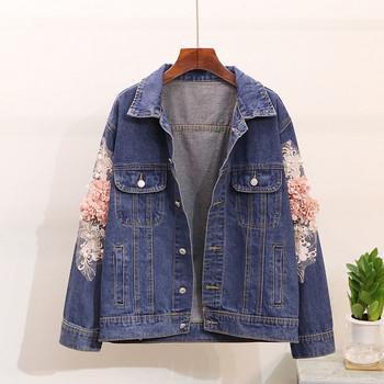 Нов модел дънково яке с цветя на ръкавите в светъл и тъмен цвят