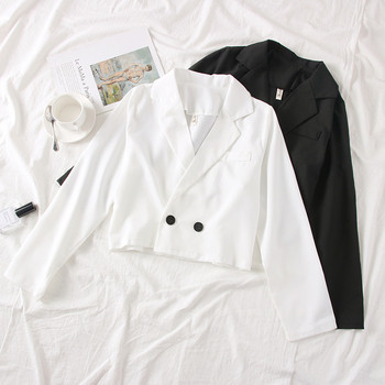 Модерно дамско сако в бял,черен,кафяв и сив цвят